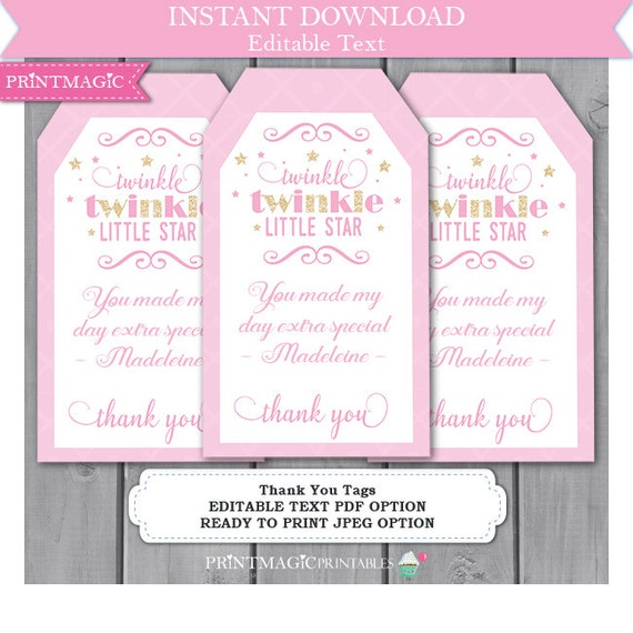 Twinkle Twinkle Little Star Thank You Tags - Birthday Party Thank You - Baby Shower Thank You - Editable Text You Personalize Yourself