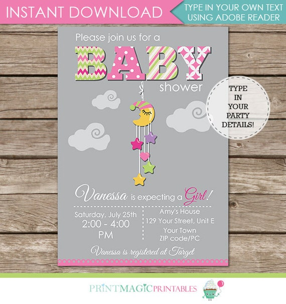 Moon & Stars Baby Shower Invitation - girl baby shower invitation - moon baby shower - Download and Personalize at home with Adobe Reader