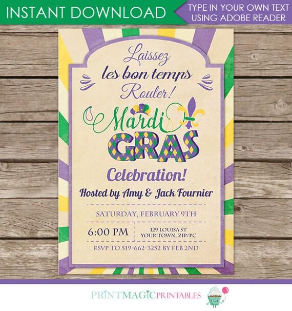 Mardi Gras Invitation -  Mardi Gras Party - Mardi Gras Printables - Download & Personalize at home in Adobe Reader