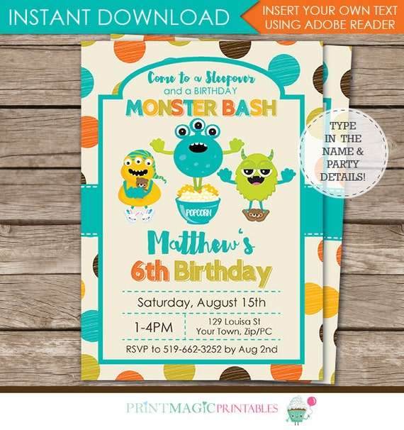 Monster Birthday Party Invitation - Monster Party - Sleep Over Invitation - Instant Download - Personalize at home in Adobe Reader