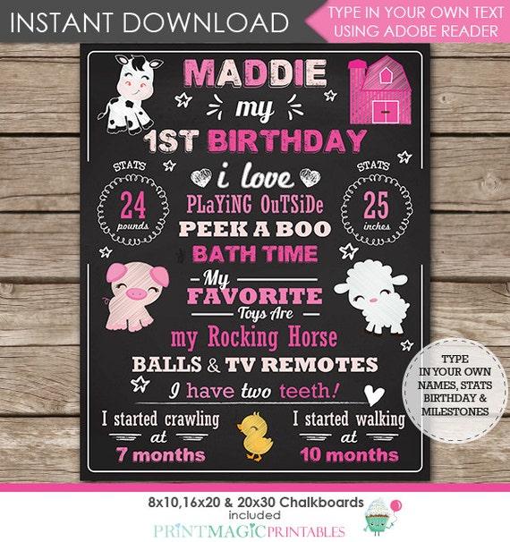 Pink Barnyard Chalkboard Poster - Barnyard 1st Birthday Chalkboard - Barnyard Birthday - Instant Download & Edit in Adobe Reader at home