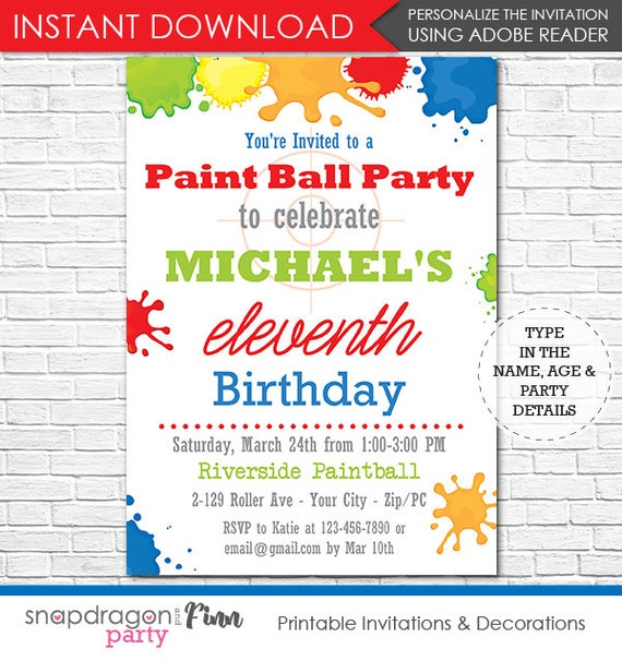 Paintball Birthday Party Invitation - Paintball Invitation - Printable Invitation - Instant Download - Personalize at home in Adobe Reader