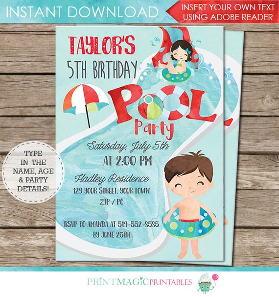 Boy Pool Party Invitation - End of Year Party Invitation - Boy Pool Birthday Party - Instant Download - Personalize at home in Adobe Reader