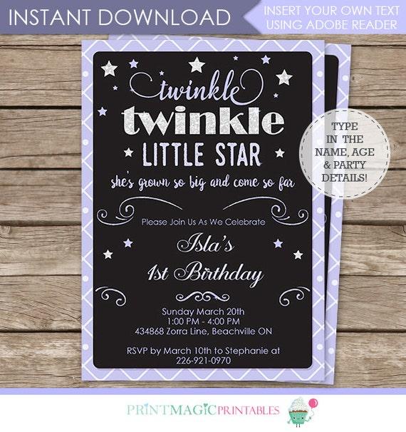 Lavender Twinkle Twinkle Little Star Invitation - twinkle twinkle birthday invitation - Instant Download - Personalize in Adobe Reader