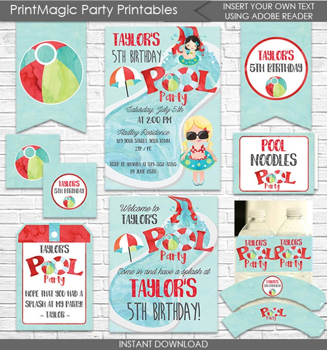 Pool Party Birthday Invitation And Decorations
