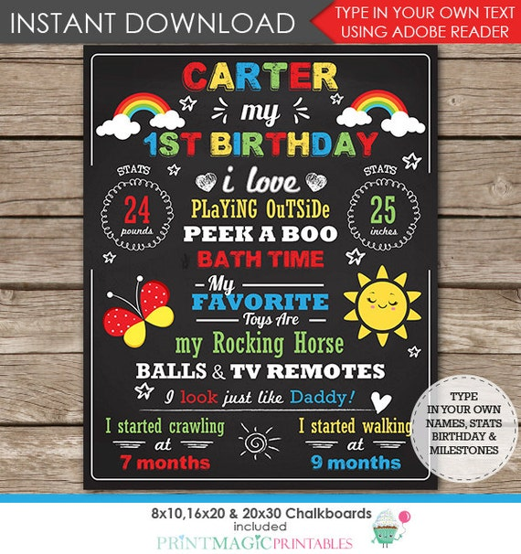 Rainbow Chalkboard Poster - Rainbow 1st Birthday Chalkboard - Rainbow Birthday Party- Instant Download & Personalize in Adobe Reader at home