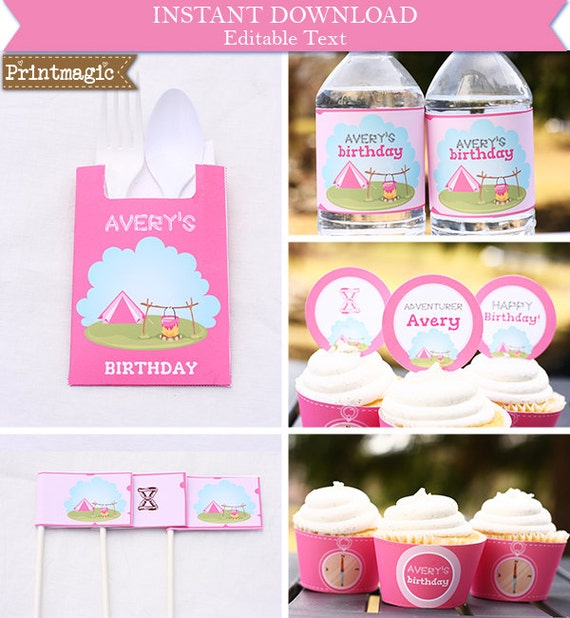 Pink Glamping - Girl Camping Birthday Party Invitation & Decorations - Printable Party Kit - Editable Text - Instant Download - Nature Party