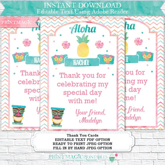 Luau Birthday Thank You Card Printable Luau Thank You Hula Etsy
