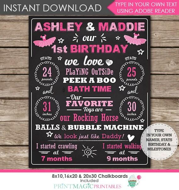 Twin Girls 1st Birthday Chalkboard Poster - Tutu Birthday Chalkboard - Twins Birthday Chalkboard - Download & Personalize in Adobe Reader