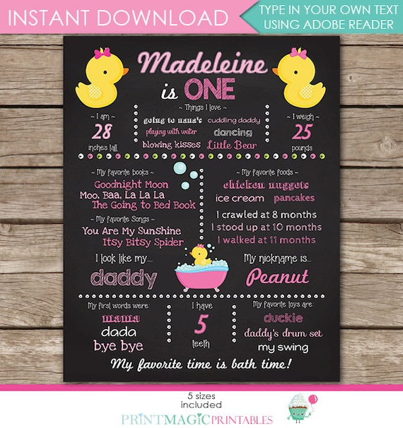 Rubber Duck Chalkboard Poster 1st Birthday or Baby Shower - Girl 1st Birthday - 5 sizes - Download Now & Edit in Adobe Reader at home