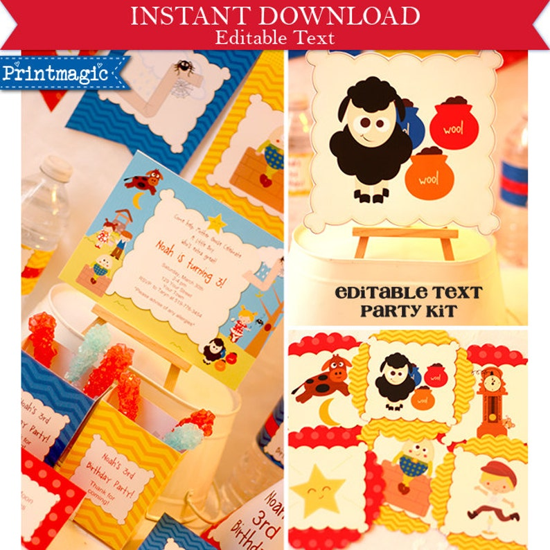 Nursery Rhyme Party Invitations Decorations