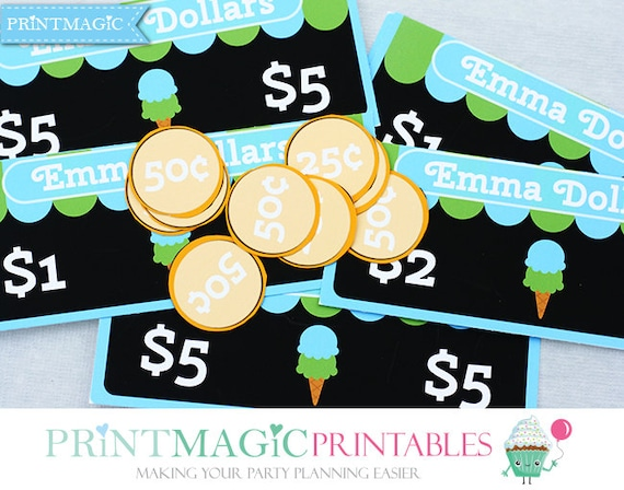Blue Ice Cream Shop Birthday - Printable Play Money - Editable Text - Instant Download - Ice Cream Birthday Party - Ice Cream Party