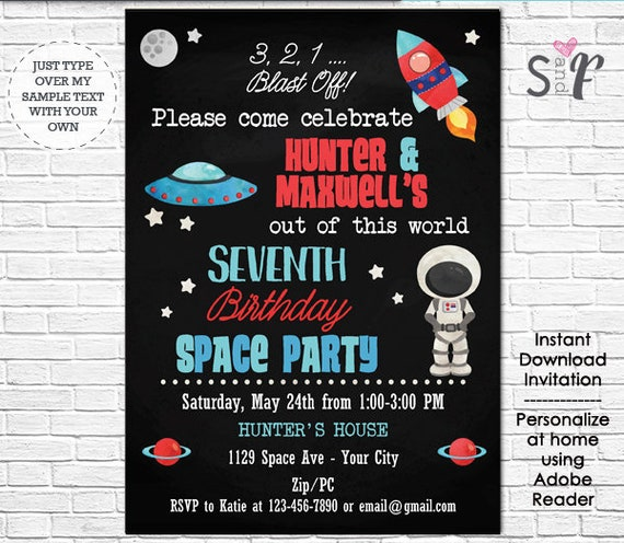 Twins Space Birthday Invitation - Astronaut Invitation - Space Birthday Party - Instantly Download & Personalize in Adobe Reader at home