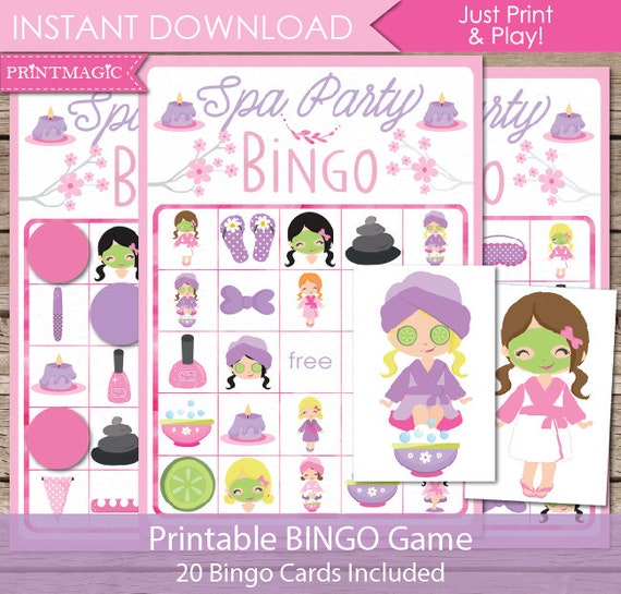 Spa Party Bingo Printable Game Birthday