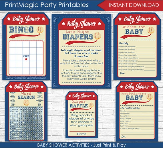 Baseball Baby Shower Games Instant Download Boy Baby Etsy
