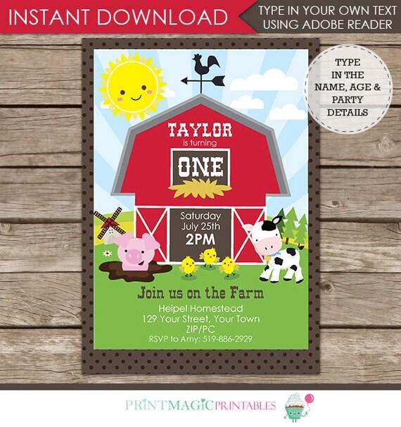 Barnyard Invitation - Barnyard Birthday Party - Farm Birthday Party Invitation - Download & Personalize at home in Adobe Reader