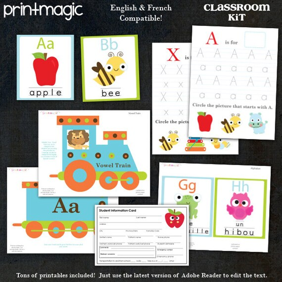 Classroom Teacher Printables - Classroom Printables - Class Newsletter - Classroom Decorations - French & English - Editable Text