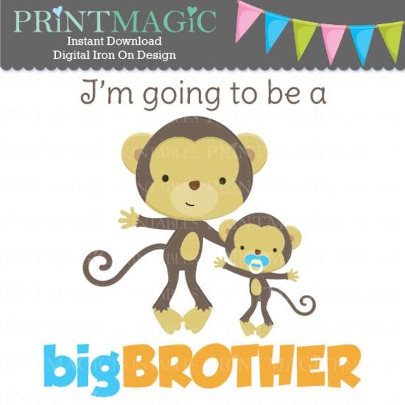 Monkey Big Brother Digital Iron On - Big Brother Digital Sticker Design - Pregnancy Announcement - Digital Tshirt Design