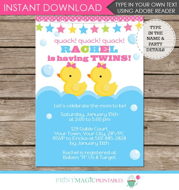 Twin Girl Rubber Duck Baby Shower Invitation - Twin Girls Baby Shower - Twin Baby Shower - Download & Personalize at home in Adobe Reader