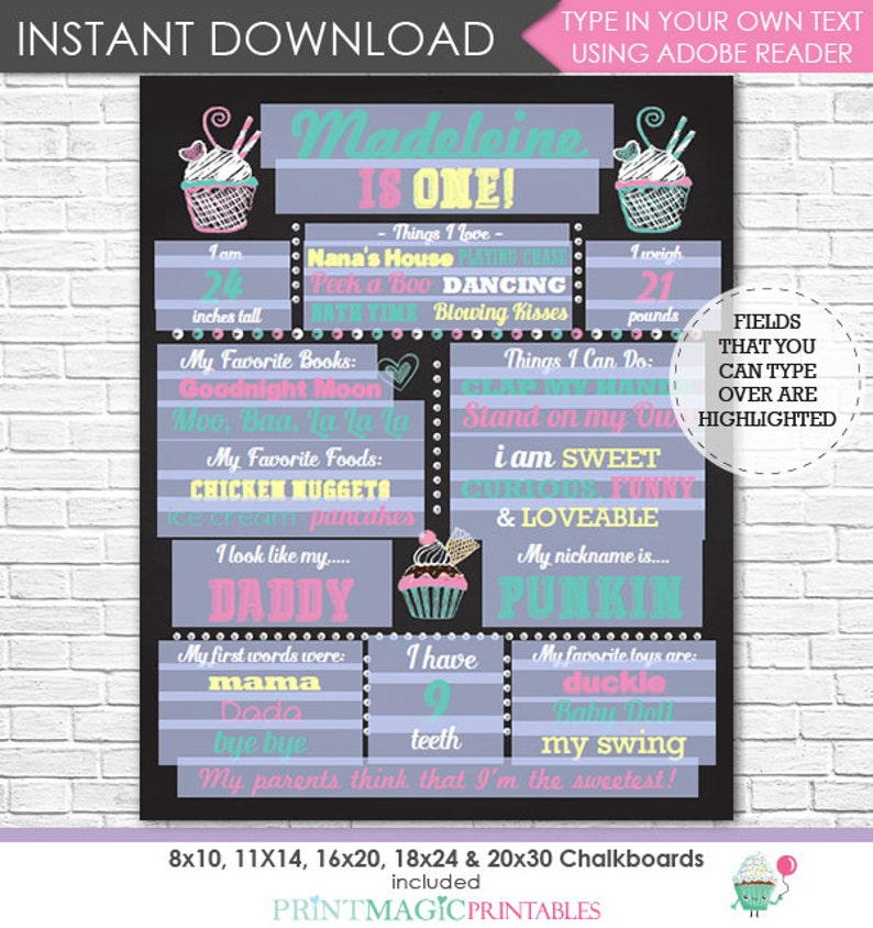 1st Birthday Chalkboard Photo Prop Sweet Shop Chalkboard Cupcake Chalkboard Poster Download /& Edit in Adobe Reader at home