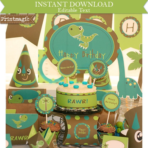 Dinosaur Birthday Invitation & Decorations - Dinosaur Party - Dinosaur Invitation - Instant Download and Personalize at home in Adobe Reader