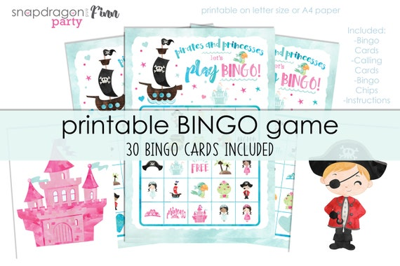 Pirate & Princess Bingo Printable Party Game - 30 Bingo Cards - Princess and Pirate Birthday Party Game - Instant Download