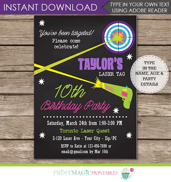 Laser Tag Party Invitation - Laser Tag Birthday Party Invitation - Laser Tag Invitation- Download & Personalize at home in Adobe Reader