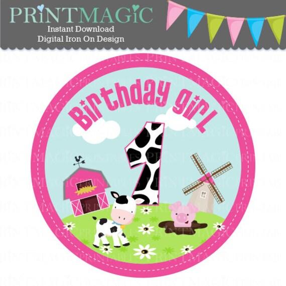 Barnyard 1st Birthday Girl Digital Iron On or Digital Sticker Design - Birthday Digital Tshirt Design - Barnyard Birthday - Farm Birthday