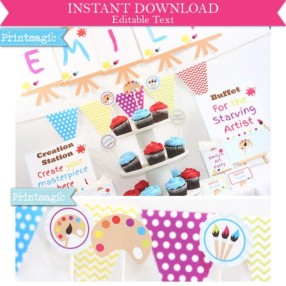 Art Party Printable Party - Art Party Invitation - Artist Party Printable Invitation & Decoration - Download and Personalize in Adobe Reader