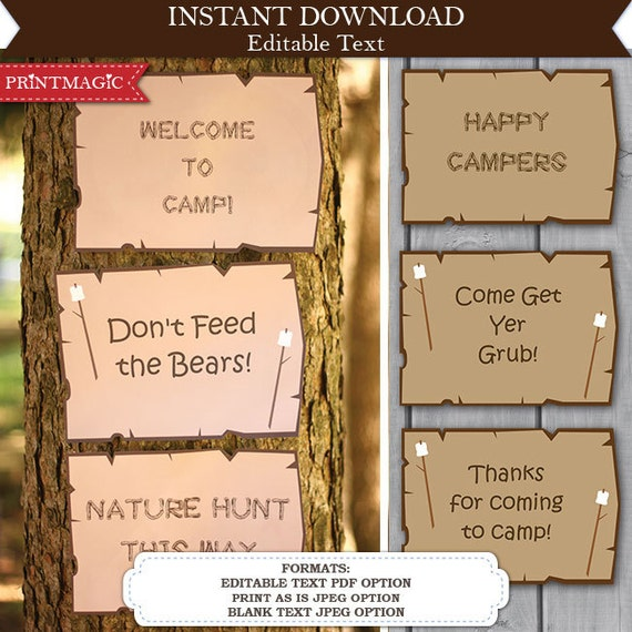 Camping Party Sign - Camping Birthday Party - Camping Sign - Nature Party Sign - Campfire Party - Instant Download & Personalize at home