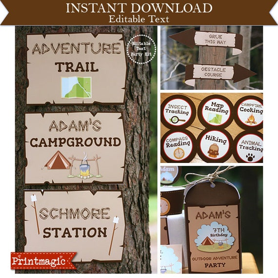 Outdoor Adventure Party - Camping Party - Invitations & Decorations - Camping Birthday Party - Download Now and Edit in Adobe Reader