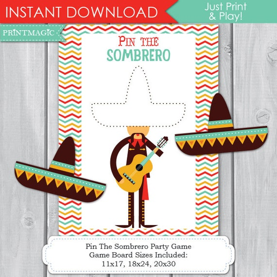Pin the Sombero Fiesta Printable Party Game - 3 Sizes - Cinco de Mayo Party - Fiesta Party - Fiesta Birthday, Instant Download