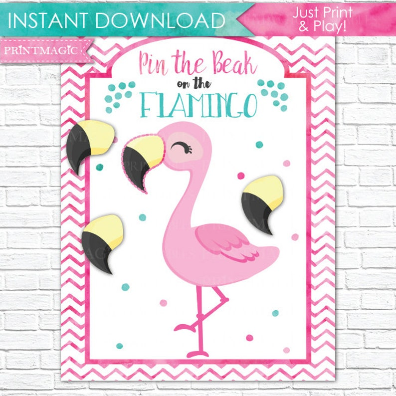 image about Printable Party called Pin the Beak upon the Flamingo Printable Social gathering Video game - 3 Poster Dimensions - Flamingo Birthday Celebration Activity - Flamingo Celebration Sport - Instantaneous Down load