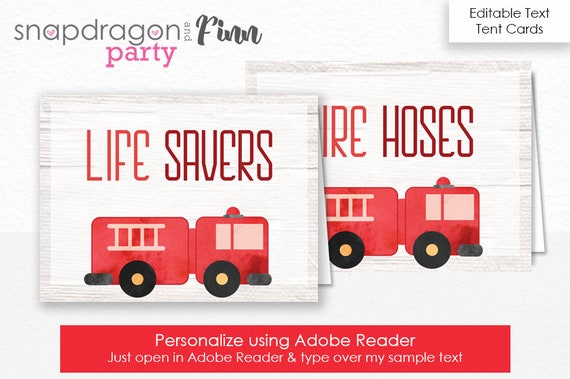 Firetruck Food Labels - Firetruck Party Tent Cards - Firefighter Party Food Labels - Firetruck Birthday - Download & Personalize Yourself