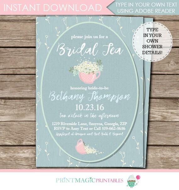Tea Party Bridal Shower Invitation - Bridal Tea Invitation - Teacup Invitaton - Instant Download & Personalize at home in Adobe Reader