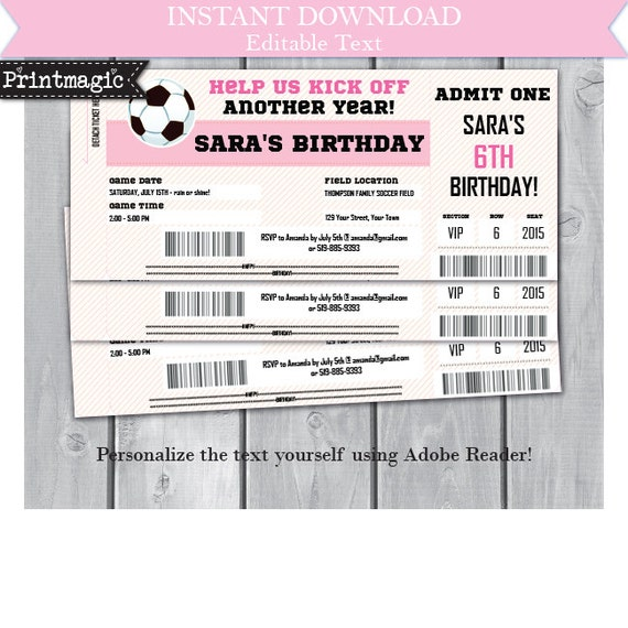 Pink Girl Soccer Birthday Party Invitation- Girl Soccer Invitation- Soccer Ticket Invitation- Download & Personalize at home in Adobe Reader