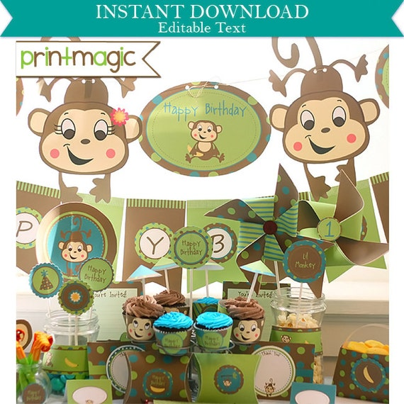 Lil Monkey Birthday Party Invitations & Decorations - Printable Party Kit - Monkey Party - Download Now and Personalize in Adobe Reader