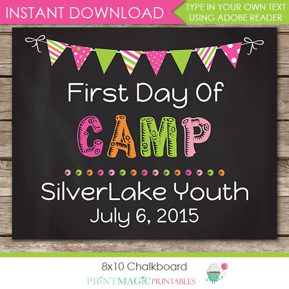 Girl First Day of Camp Chalkboard Poster - Last Day of Camp Chalkboard - Summer Camp Poster - Download Now & Edit in Adobe Reader at home