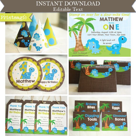 Dinosaur 1st Birthday Party Invitations & Decorations - Printable Party Kit - Instantly Download and Personalize using Adobe Reader