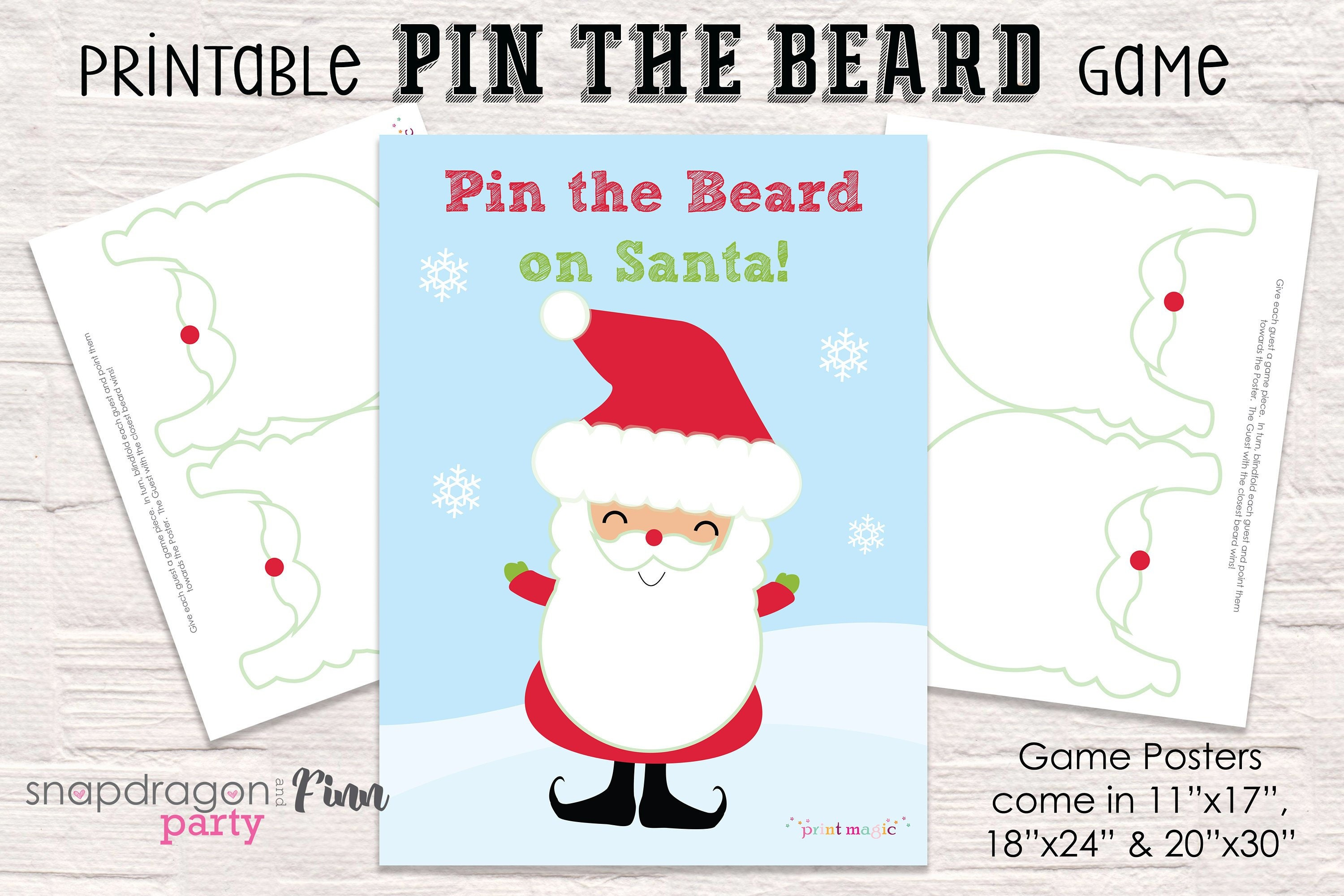 Pin the Beard on Santa Printable Party Game - 3 Sizes Included ...