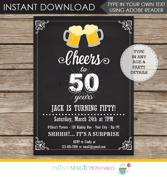 30th Birthday Invitation - 40th Birthday Invitation- 50th Birthday Invitation- 60th Birthday Invitation- Personalize at home in Adobe Reader