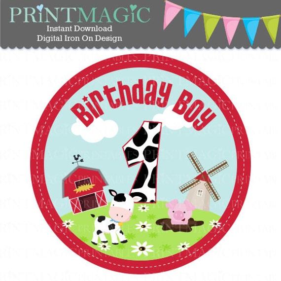 Barnyard 1st Birthday Boy Digital Iron On or Digital Sticker Design - Birthday Digital Tshirt Design - Barnyard Birthday - Farm Birthday