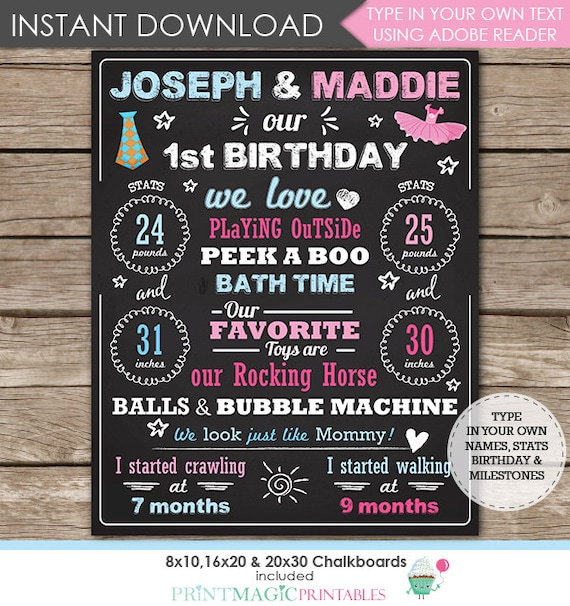 Ties & Tutus Twins 1st Birthday Chalkboard Poster - Twins Chalkboard - Tie and Tutu Chalkboard - Download Now and Edit using Adobe Reader
