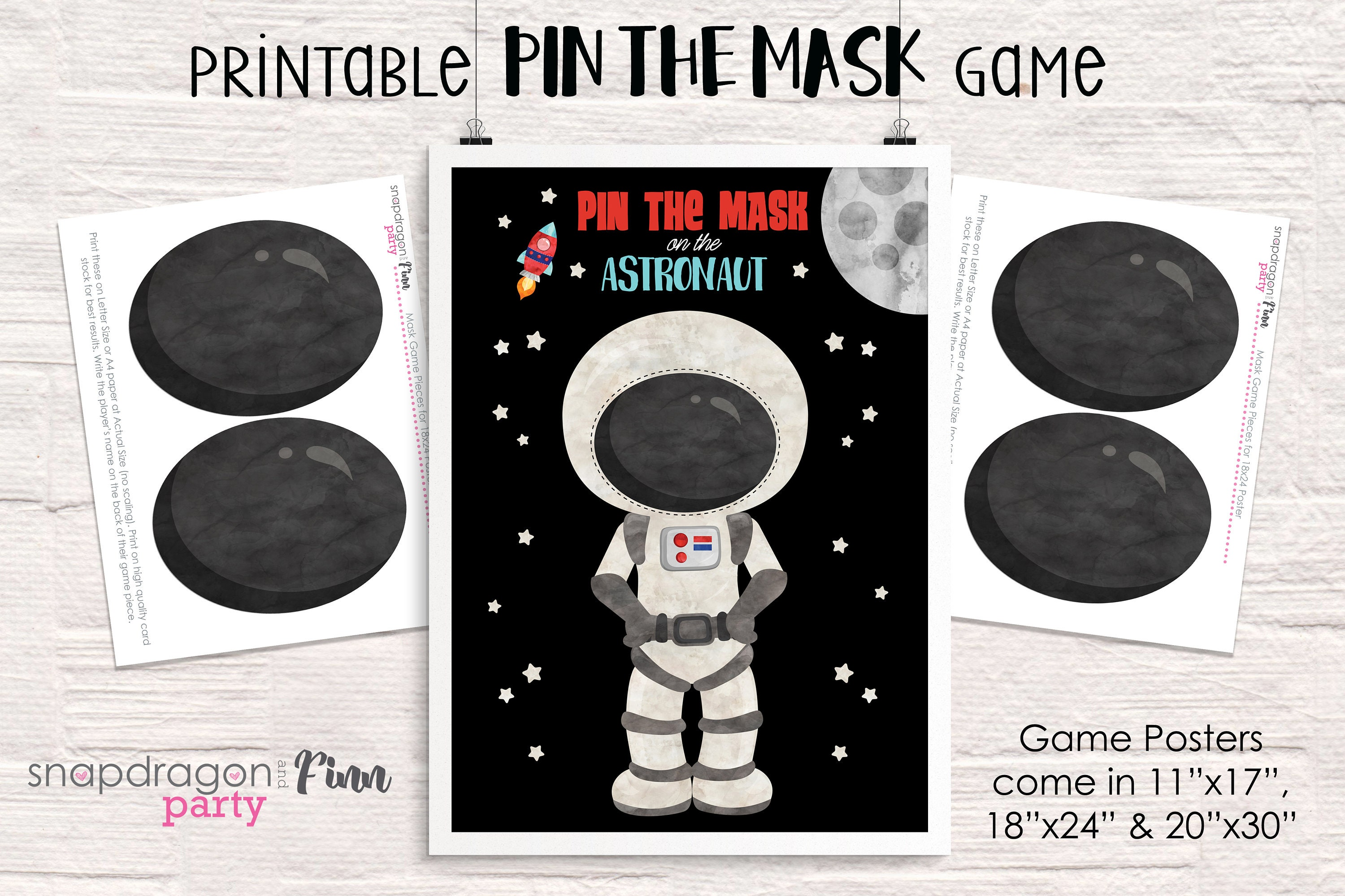 Pin The Mask On The Astronaut Printable Party Game 3