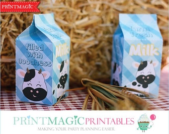 Barnyard Party Milk Carton Favor Box - Barnyard Party Favor - Barnyard Birthday Party - Farm Birthday - Editable Text - Instant Download