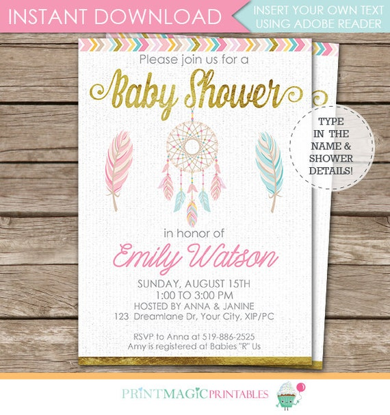 Dreamcatcher Tribal Baby Shower Invitation - Dreamcatcher Invitation - Tribal Invitation - Instant Download & Personalize in Adobe Reader