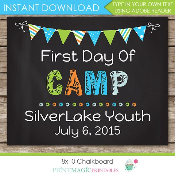 First Day of Camp Chalkboard Poster - Last Day of Camp Chalkboard - Summer Camp Poster - Download Now & Edit in Adobe Reader at home