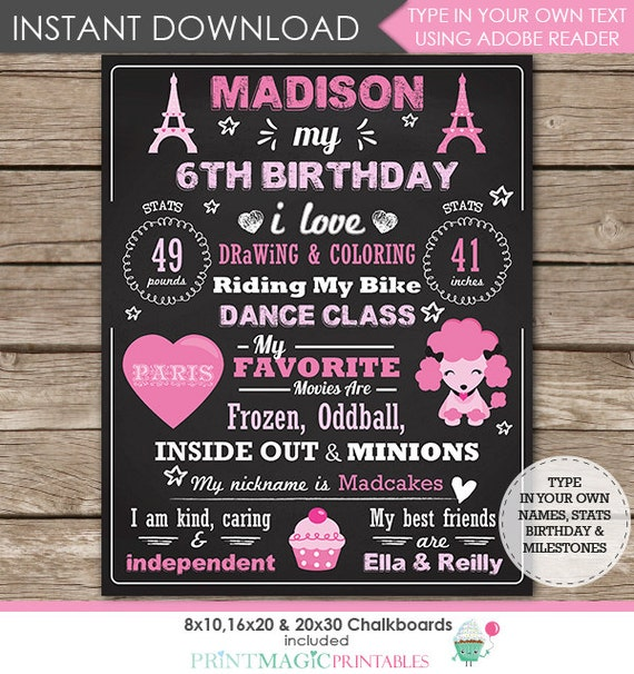 Paris Birthday Chalkboard Poster - Paris Chalkboard - Paris 1st Birthday Chalkboard - Instant Download & Personalize in Adobe Reader at home