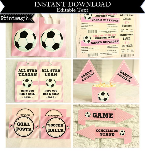 Pink Girl Soccer Birthday Party Invitations & Decorations - Printable Party Kit - Soccer Invitation - Download Now and Edit in Adobe Reader