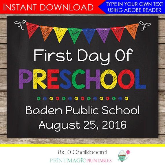Rainbow First Day of Preschool Chalkboard, First Day of School Chalkboard, Photo Prop, Download Now & Edit in Adobe Reader